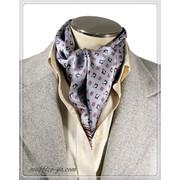 2色★エレガント袋縫い幾何学柄メンズ用100%シルクスカーフ 10130