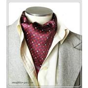 エレガントな袋縫いプリント柄入りメンズ用100%シルクスカーフ 全3色 10134